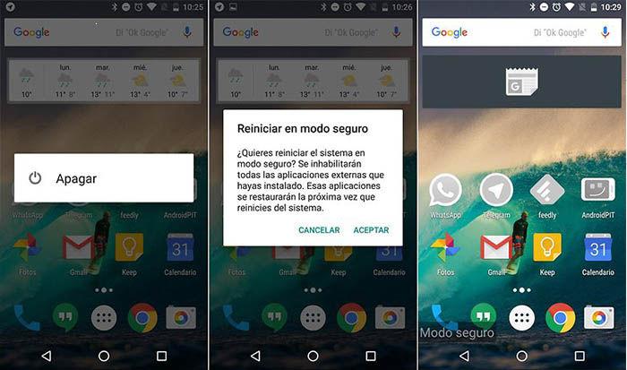 desactivar el modo seguro de Android
